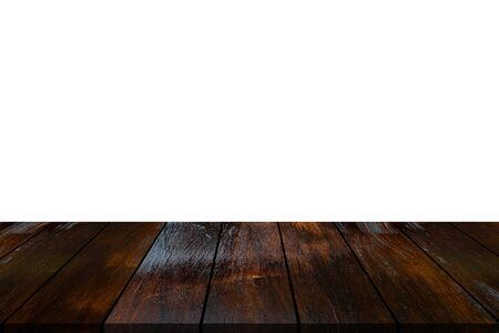 table dark wooden plank isolated on white background. Reklamní fotografie