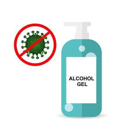 Anti Coronavirus,Covid19 with alcohol gel bottle illustration vector eps10