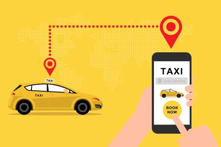 Hand holding mobile application to call taxi vector Ilustrace