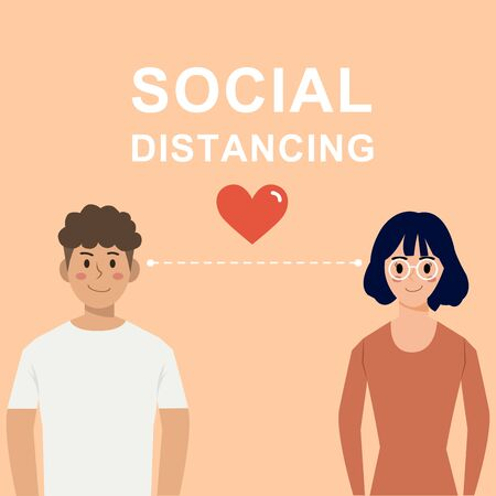 social distancing concept,lovely couple characters in love,keeping dintance