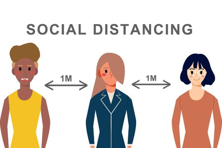 social distancing concept.females character standing away from covid-19,keeping dintance 1 meter illustrator vector
