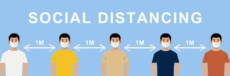 social distancing concept.people wearing mask and standing away from covid-19,keeping dintance 1 meter illustrator vector