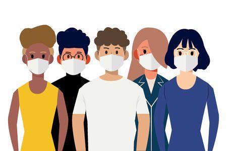 cartoon character wearing medical mask Ilustrace