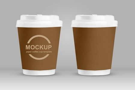 Mockup brown paper coffee cups isolated on grey background.3d render Reklamní fotografie