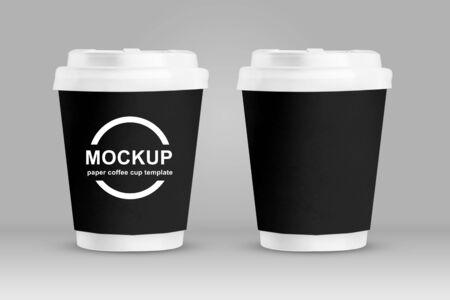 Mockup black paper coffee cups isolated on grey background.3d render Reklamní fotografie