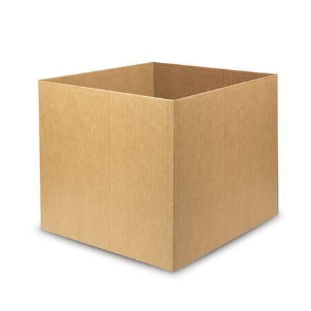 mock up brown paper box isolated on white background.square image Reklamní fotografie