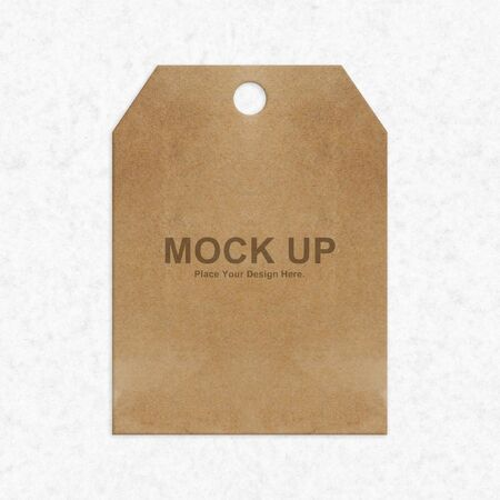 brown label tag mock up on white paper texture background