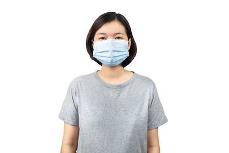 young asian woman with medical mask or surgical mask isolated on white background