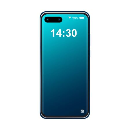 Modern Smartphone with Blue Gradient Color locked screen isolated on white background illustration vector