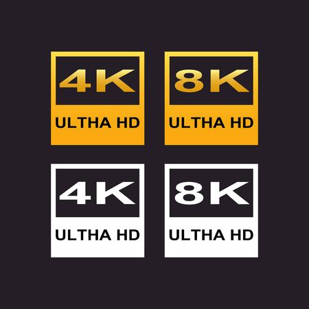 4K and 8K Ultra HD logo, resolution icon on black background vector