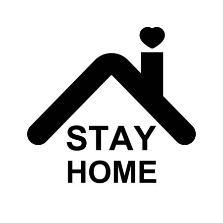 stay home icon,home with heart and stay home text.coronavirus or covid-19 protection concept vector Ilustrace