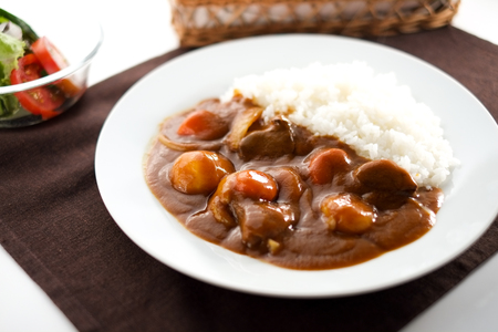 Japanese curry and rice Stock Photo