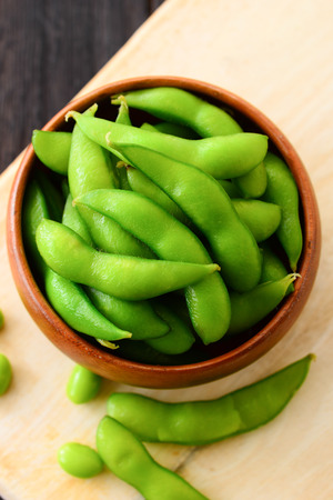 cooked green soybeans Stock Photo