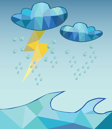 hard rain: vector hard rain poly style Illustration