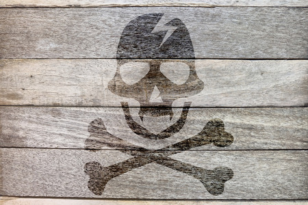 pirate icon on wood background photo