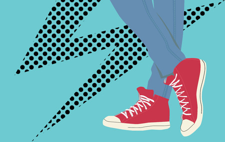 tearing down: Vector vintage sneakers Illustration