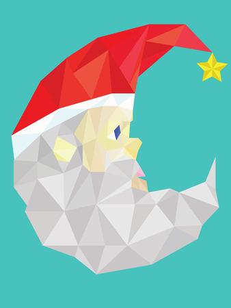 kris kringle: Low polygon vector of santa claus Illustration