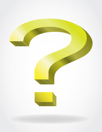 be careful: gold question mark sign
