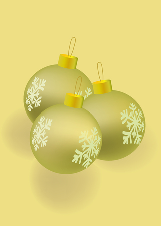 hanging dangling: Vector christmatball gold color