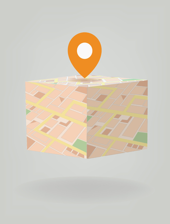 straight pin: Vector city map with GPS Icons cube