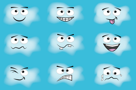 face expressions: cloud cartoon emotion set