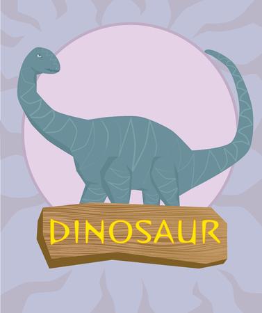 terrific: Dinosaur brontosaurus silhouette against the sun Illustration