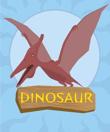 carboniferous: Dinosaur pterosaur silhouette against the sun