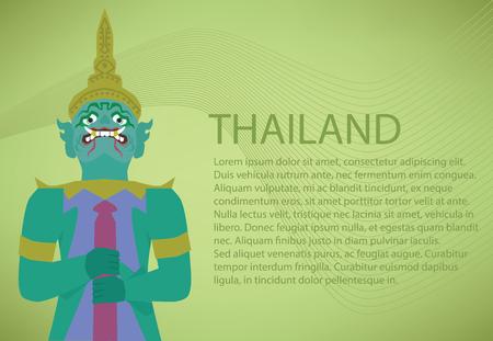 southeastern asia: Giant of Thailand. Thailand Travel. Illustration