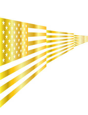 gilding: USA gold flag label on isolated background