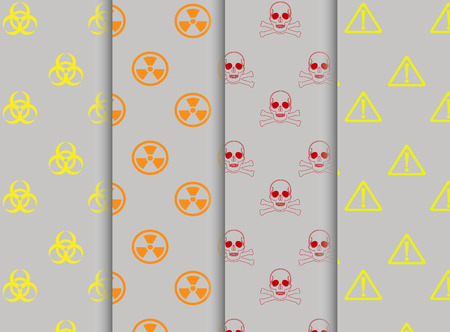 laser hazard sign: Vector - Collection of warning signs seamless pattern