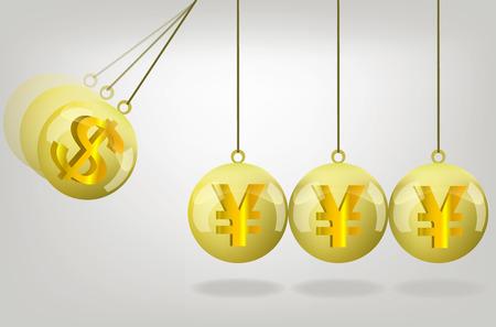 money crisis: Vector yen money crisis concept art .