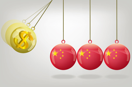 money crisis: Vector china money crisis concept art Illustration