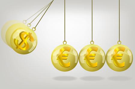 money crisis: Vector euro money crisis concept art .