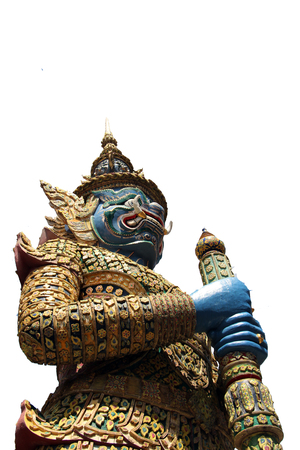 giant guard statue at thai temple isolated on white background Stock Photo