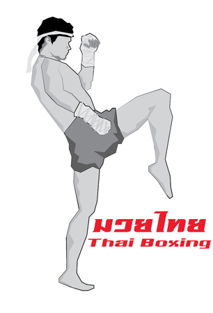 Vector - Illustration of a Muay Thai Fighter Kicking