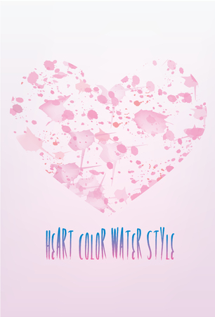 painterly effect: Vector watercolor heart background. Colorful abstract texture. Illustration