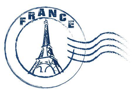 France stamp vintage style on white background .