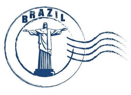 Brazil blue grunge round vintage rubber stamp.