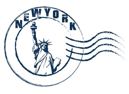 New York Statue of Liberty stamp style .