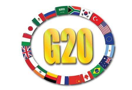 Summit G20 concept with globe rendering isolated on white background Reklamní fotografie - 126193945