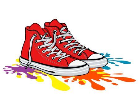 Roter Sneaker-Schuh, Leinwand-Schuh, einfache Vektor-Illustration
