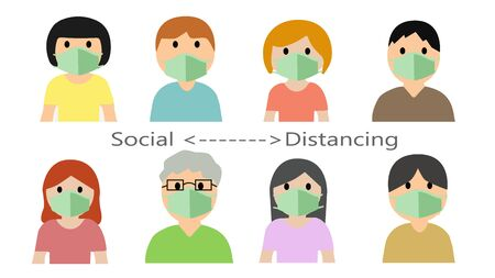 Social Distancing, People keeping distance concept art  イラスト・ベクター素材
