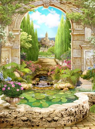 오래 된 이탈리아 아치 꽃으로 덮여