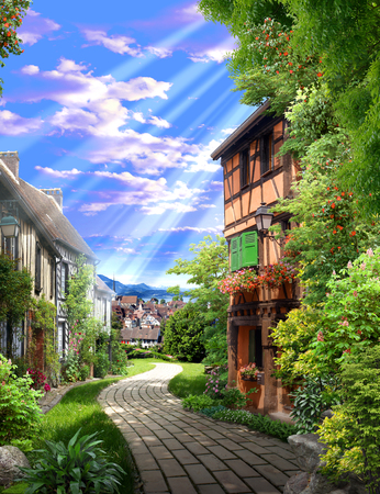 Vieille ruelle verte avec des fleurs et une route de pierre