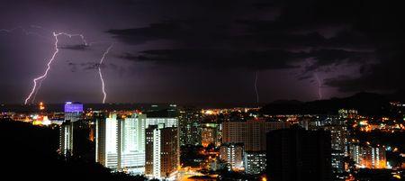 Multiple lightning at night