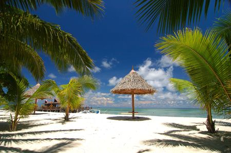 Tropical beach resort with bamboo hut and coconut trees  Stock Photo - 6839981