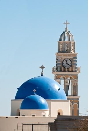 Church with blue dome in Santorini, Greece Stock Photo
