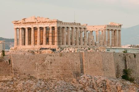 Akropolis von Athen, die vor Sonnenuntergang genommen Standard-Bild