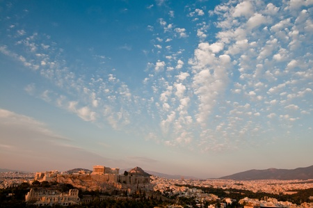 Acropolis of Athens with blue sky and cloud, taken before sunset Stock Photo