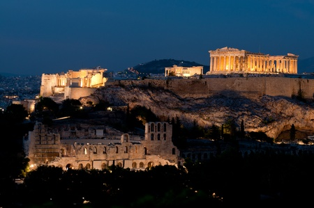 Acropolis of Athens after sunset Stock Photo